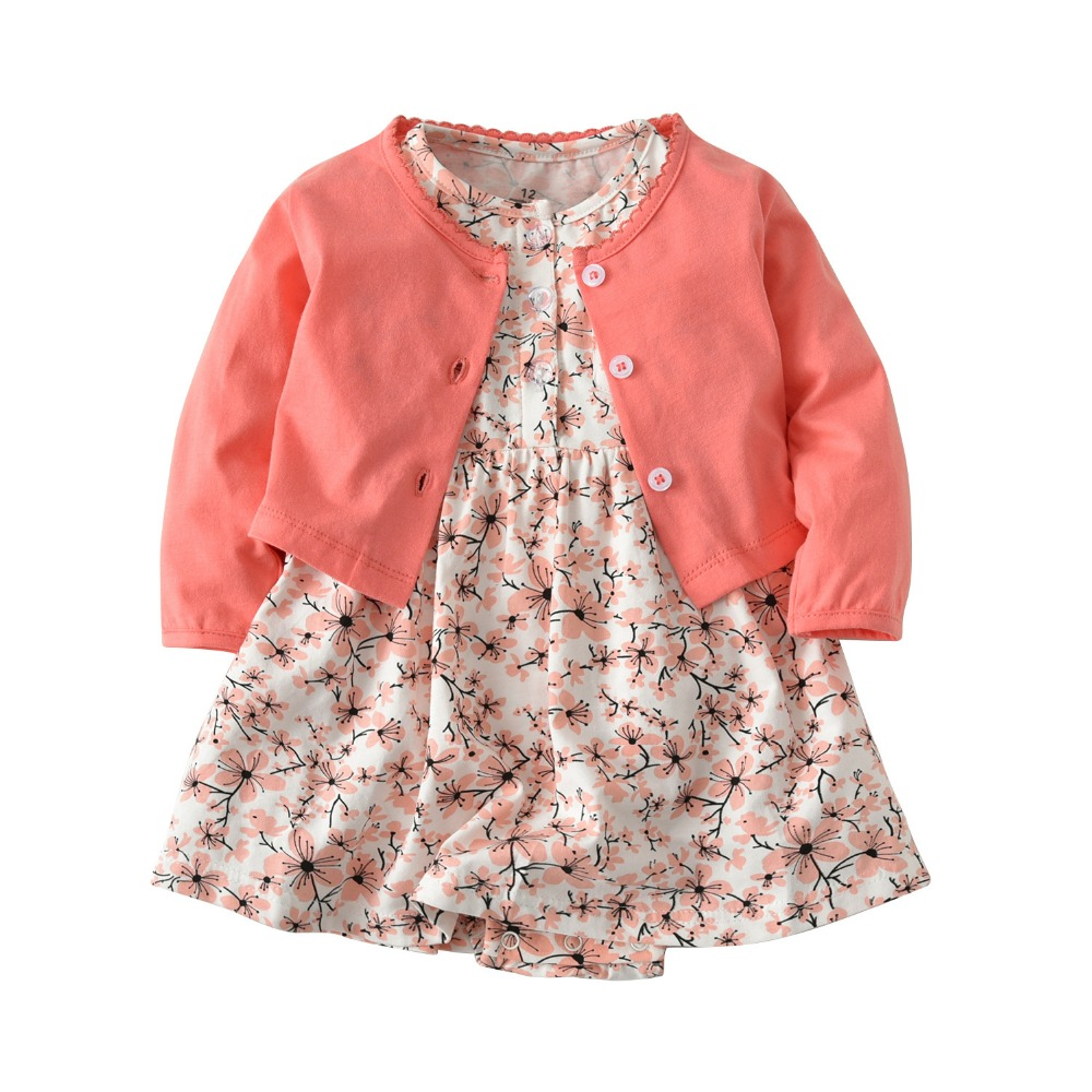 Baby children 2 piece suit clothing cotton cardigan small shawl + short sleeve floral dress one piece girl brand clothing 2017 spring autumn baby girl princess one piece dress 100% cotton one piece dress baby clothing sweater dress child outerwear