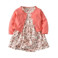 Baby children 2 piece suit clothing cotton cardigan small shawl + short sleeve floral dress one piece girl brand clothing