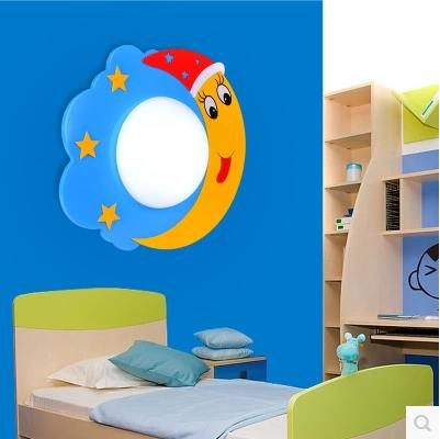 Pastoral star moon led cartoon wall lamp creative aisle children s bedroom lamp bedroom  ...