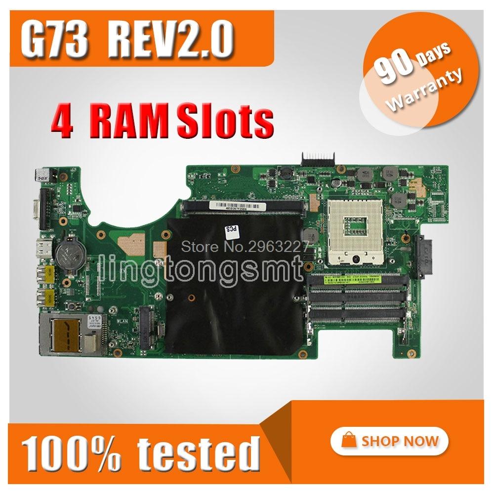 G73JH Motherboard REV:2.0 HM55 4 slots PGA989 For ASUS G73 G73JH G73J Laptop motherboard G73JH Mainboard G73JH Motherboard цены онлайн
