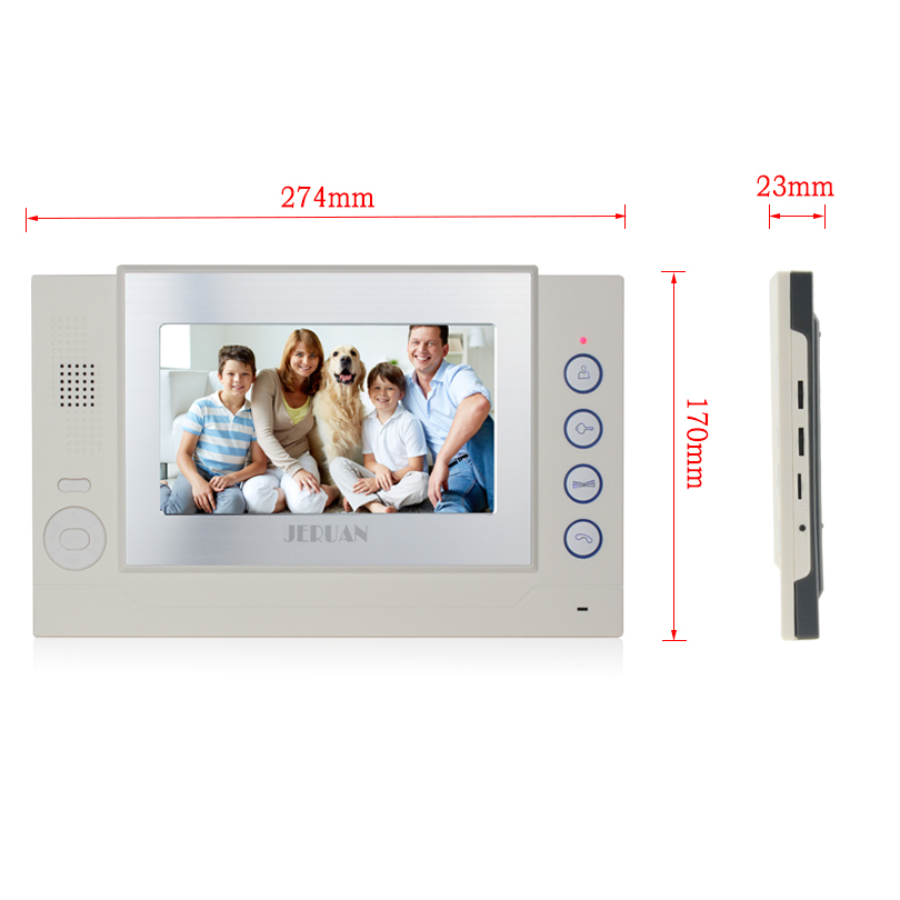JERUAN 7 inch color TFT LCD monitor intercom system only monitor video door phone video recording +power adapter