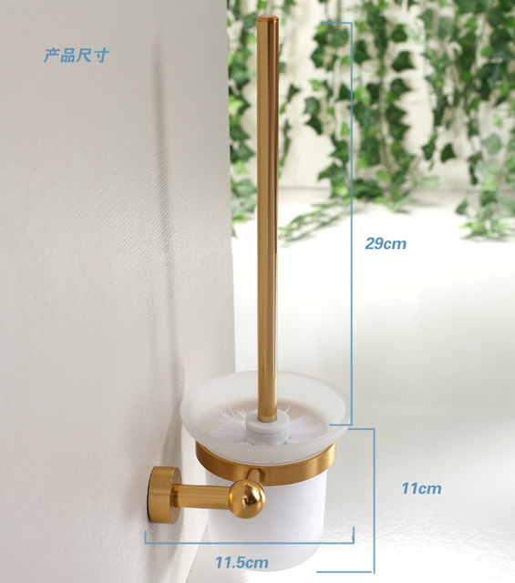 Luxury golden aluminum complete set toilet brush holder cup holder rack with glass cup and brush hotel supplies bathroom product