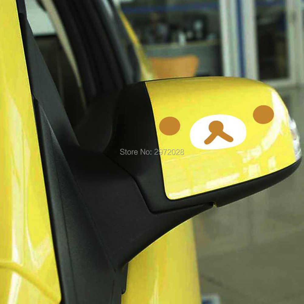 ใหม่ล่าสุดการ์ตูนรถจัดแต่งทรงผมหมี Rilakkuma ตกแต่งรถด้านหลังดูกระจกสติกเกอร์รูปลอกไวนิล