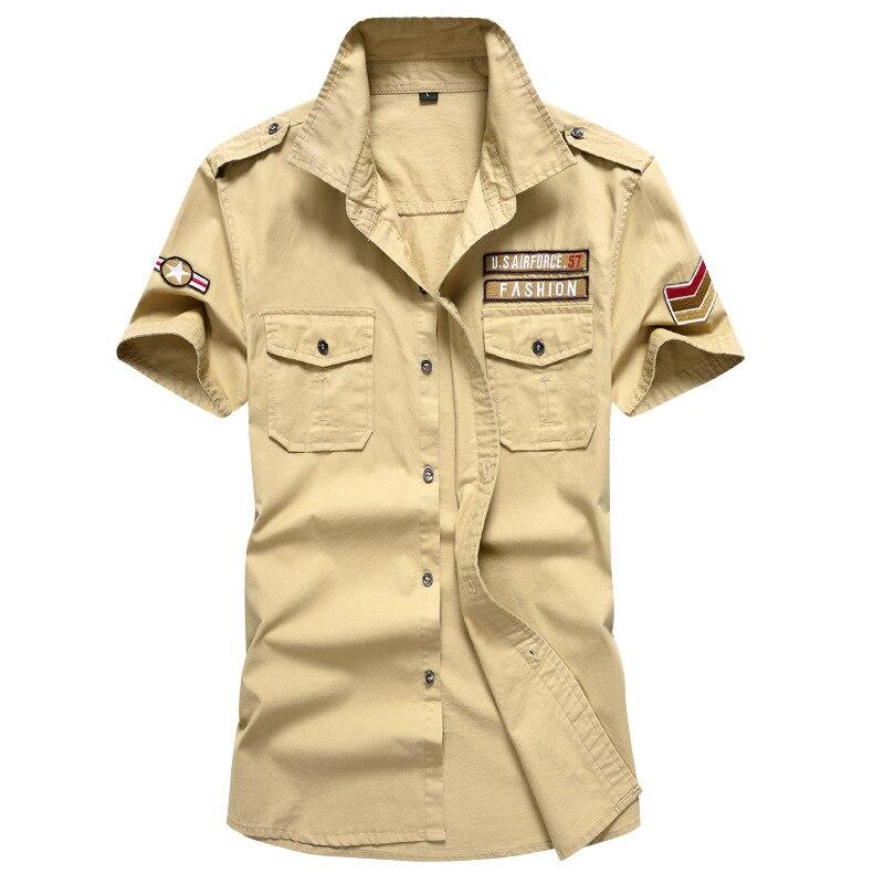 Men Summer Cotton Shirt Military Jeep Style Short Sleeve