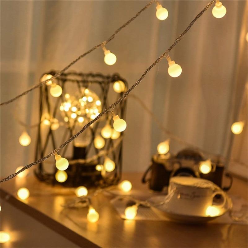 Guirnalda 3M 5M 10M batería LED AA guirnalda con luces redondas luces de Navidad guirnalda para interior en baterías boda Luz de decoración de Navidad Nuevo ramo Artificial de hojas de palma Tropical plantas de simulación hogar balcón jardín decoración de paisaje Accesorios