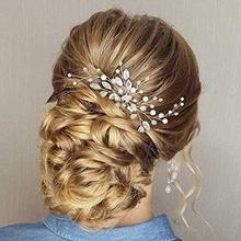 YouLaPan HP103-1 accesorios para el cabello de boda, diadema de perlas para novia, diadema de perlas para boda, tocados para novia, alfileres nupciales, broches para boda