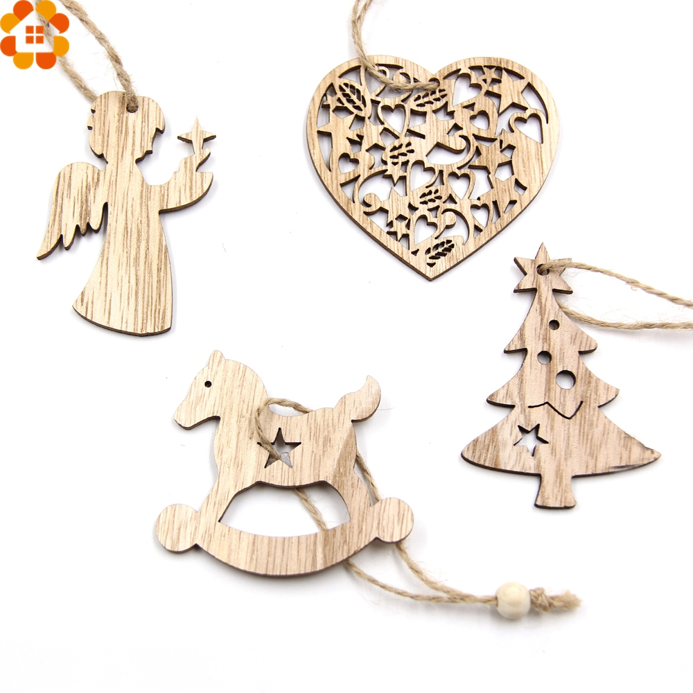 10pcs Diy Christmas Snowflakes Deer Tree Wooden Pendants