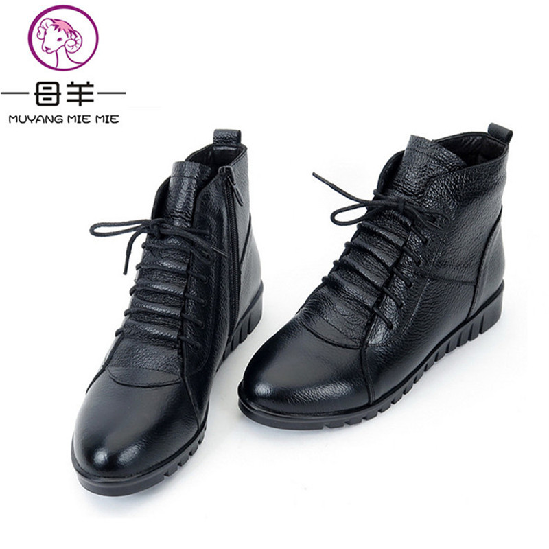 Plus Size Winter Women Shoes Woman Genuine Leather Flat Ankle Boots Female Lace-up Snow Boots Women Boots zip Keep warm shoes eiswelt women mid calf boots winter snow boots warm round toe flat shoes female fashion lace up boots plus size zqs182 page 8