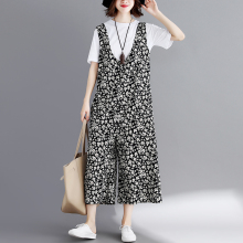 Summer Jumpsuits Women Rompers Elegant Floral Print Casual Cotton Linen Wide Leg Pant Jumpsuit Overalls