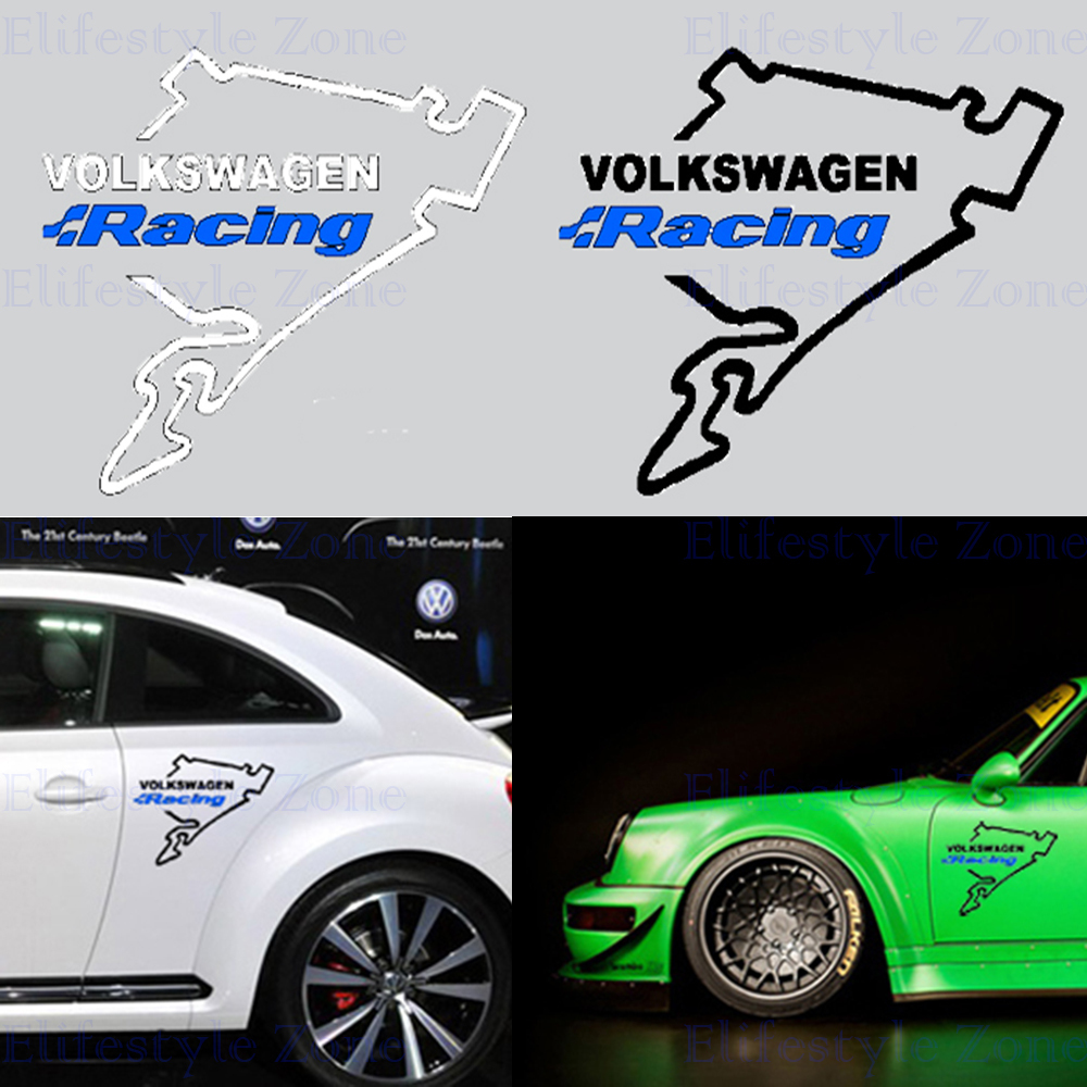 Newest design car body stickers car decal volkswagen racing nurburgring for t volkswagen vw golf touareg tiguan jetta sagitar in car stickers from