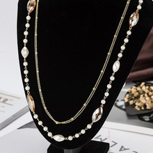 Simulated Pearl Crystal Double Layers Camilla Long Sweater Chain Circles Necklace For Women Vintage Accessary Collares Statement