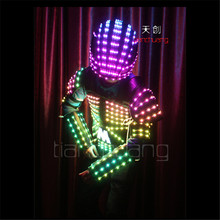 TC-102 Full color Mens robot stilts suit dancing costumes led bar disco RGB wear ballroom programming clothes LED colorful light