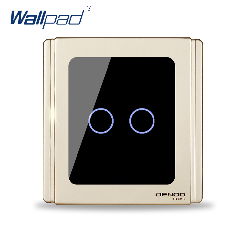 Free Shipping 2017 New Arrival 2 Gang 1 Way Wallpad Luxury Wall Light Touch Switch 1.1mm Mirror Panel Backlight Indicator