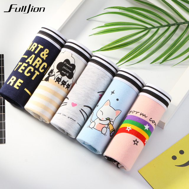 09c4b3ed95163 Fulljion 5pcs lot Panties Women Girls Cute Cartoon Printed Intimate Plus  Size Briefs Sexy Cotton Underwear Lingeries panties