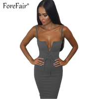 Forefair Sexy Sheath Halter Dress Women 2017 Summer Clubwear Bodycon Party Dresses Fashion Lace Up Bow