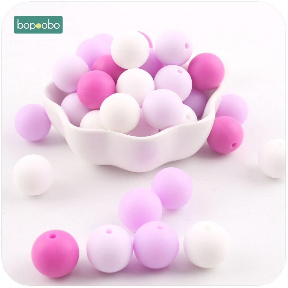 все цены на Bopoobo 20pc Silicone Teether Bead Food Grade Teething Purple Series Baby Bites Toys DIY Jewelry Beads Baby Teether 15mm онлайн