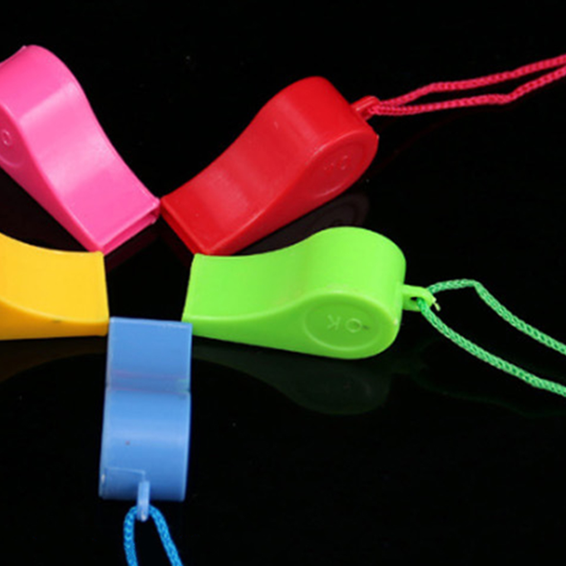 Soccer 24PCS Plastic Whistle With Lanyard Bor Boats Raft Party Sports Games Emergency Survival