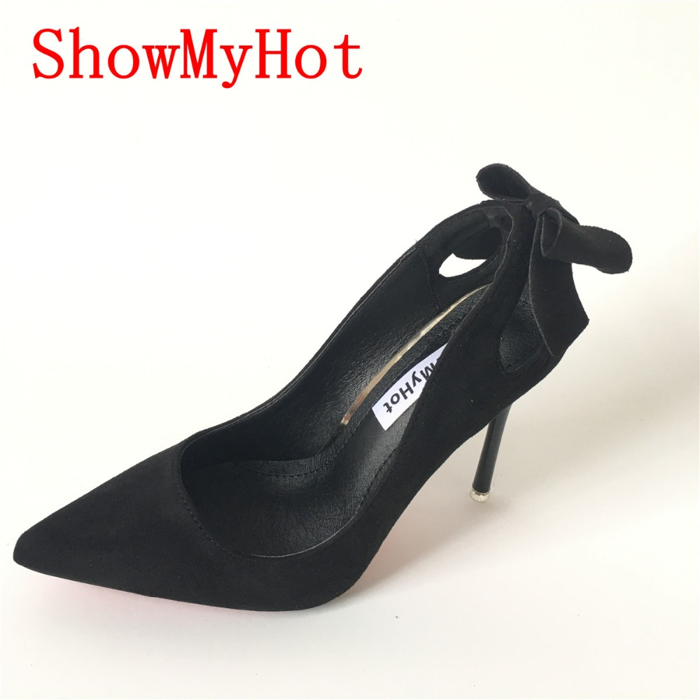 ShowMyHot Sexy High Heels Wedding Pumps Shoes For Women Elegant flock Fashion Party Dress Pointed Toe Thin Heels Shoes-in Women's Pumps from Shoes    1