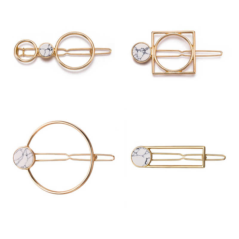 2019New Fashion Women Girls Metal Circle Square Hair Clips Natural Stone Hairpins Barrettes Wedding Hair Clip Accessories