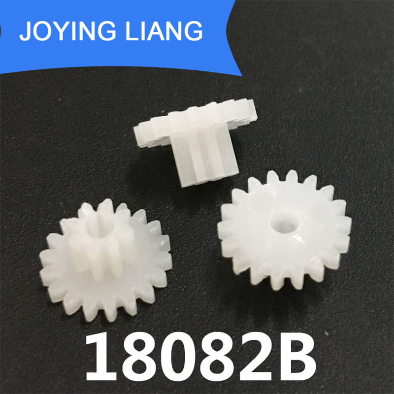 18082B 0.5M Double Plastic Gear 10MM Diameter 18 Teeth + 8 Teeth 2MM Loose Double-layer Gear Toy Accessories 10pcs/lot
