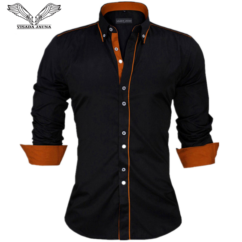 VISADA JAUNA Men Shirts Europe Size New Arrivals Slim Fit Male Shirt Solid Long Sleeve British Style Cotton Men's Shirt Office(China)