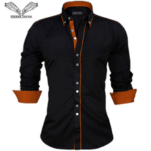 VISADA JAUNA Men Shirts Europe Size New Arrivals Slim Fit Male Shirt Solid Long Sleeve British Style Cotton Men's Shirt N332(China)