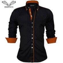 91db292e46f06c VISADA JAUNA mężczyźni koszule rozmiar europa nowości Slim Fit koszula męska  z długim rękawem stałe brytyjski