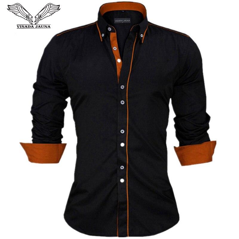 VISADA JAUNA Camisas Dos Homens Tamanho Da Europa New Arrivals Slim Fit Masculino Sólida Camisa de Manga Comprida Estilo Britânico dos homens do Algodão camisa N332