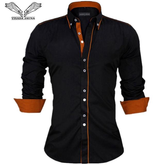 VISADA JAUNA Männer Shirts Europa Größe Neuheiten Slim Fit Männlichen Hemd Solide Langarm Britischen Stil Baumwolle männer hemd N332