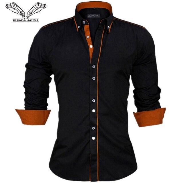 Visada Jauna Mannen Shirts Europa Size Nieuwkomers Slim Fit Man Shirt Solid Lange Mouwen Britse Stijl Katoen Mannen shirt Kantoor