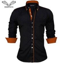 Visada jauna 男性シャツヨーロッパサイズ新着スリムフィット男性のシャツ固体長袖英国スタイルの綿の男性のシャツオフィス