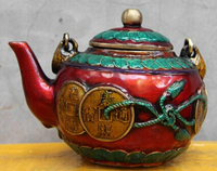 Antique bronze Pure Copper Brass CHINESE crafts decor ation Asian Chinese Folk Copper Bronze wine pot