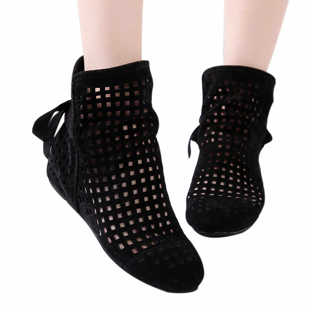 Женские ботинки на плоской подошве со скрытой танкеткой, ботильоны с вырезами, повседневная обувь, милые женские зимние ботинки, женская мода, хит продаж
