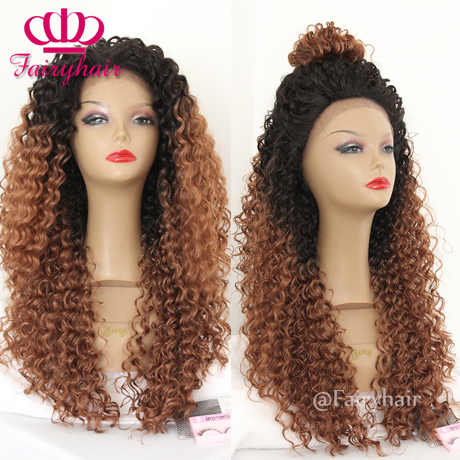 Fashion Afro Kinky Curly Lace Wigs Two Tone Ombre Brown Synthetic Lace Front Wig Heat Resistant Gluless Fiber Curly Wigs for Women6