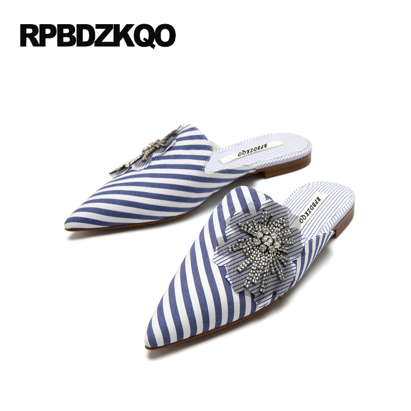 Large Size 2017 Pointed Toe Mules Flats Size 9 Rhinestone Ladies Beautiful Shoes Slides Sparkling Fashion Striped Diamond Blue meotina brand design mules shoes 2017 women flats spring summer pointed toe kid suede flat shoes ladies slides black size 34 39