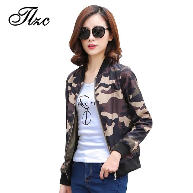 426ca45d557 TLZC Women Camouflage Jackets Fashion Autumn Coat Plus Size M-4XL Street  Style Long Sleeve Zipper Lady Casual Outwear
