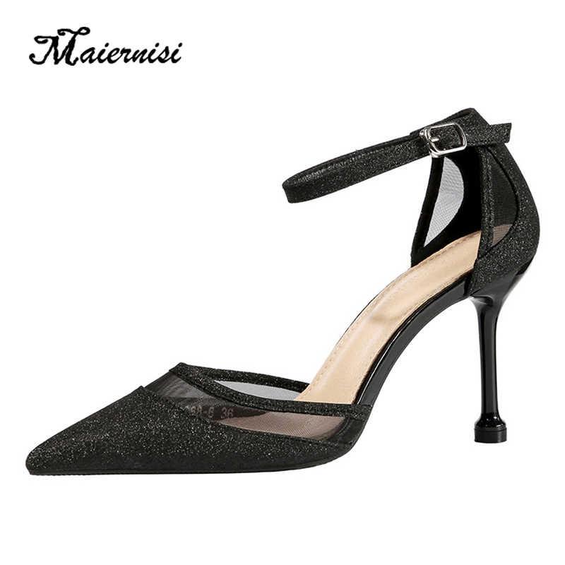 MAIERNISI Mùa Hè Nữ Giày Nữ Mũi Nhọn Bơm Đầm Giày Mỏng Giày Cao Gót Giày Đế Xuồng Giày Cưới Nhà Thiết Kế Feminino