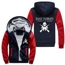 Verdicken hoodie männer frauen iron maiden reißverschluss jacke sweatshirts mantel clothing casual