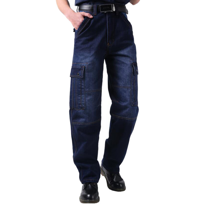 2017 Big Size Man Hip Hop Jeans Baggy Men Cargo Pants Straight Cotton Male Fashion Denim Overalls Multi Pockets Trousers 050305 moruancle men s baggy cargo jeans pants loose straight tactical denim trousers for big and tall size 29 46 side zipper pockets