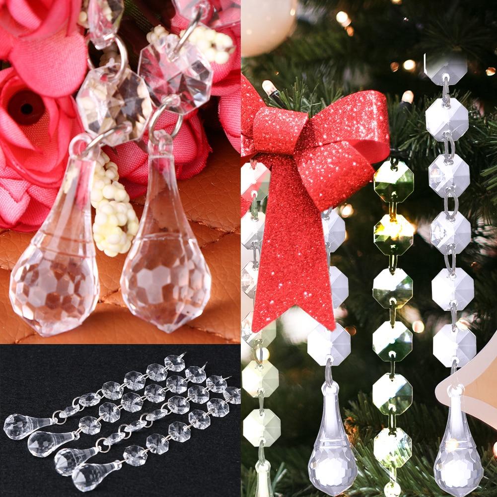 12pcs Transparent Acrylic Bead Curtain DIY Wedding Decor Diamond Crystal Beads Strand Garland Window Scarfs Curtain 15cm