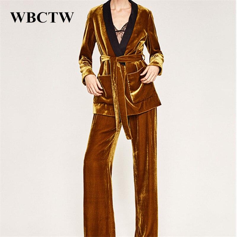 Velvet Clothing Sets Solid Fashion Long Sleeve Deep v Neck Winter Autumn Drawstring Patchwork Plus Size