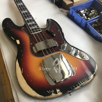 High Quality 100% handmade basswood body 4 string sunburst vintage bass old style F 1959 relic Jazz bass guitar