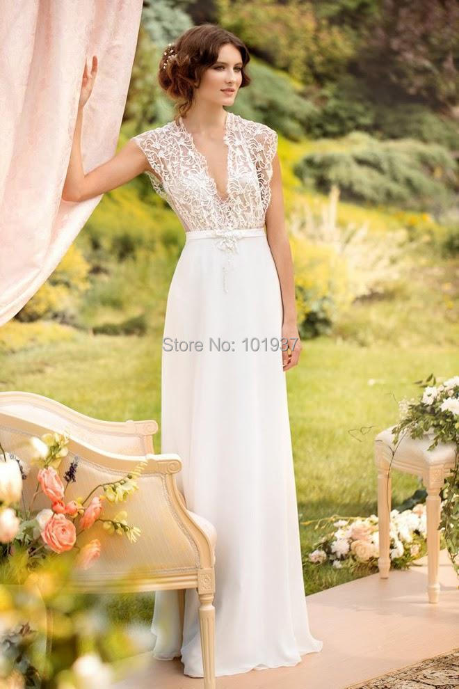 119 New Garden V Neck A Line White Cap Sleeve Floor Length Simple Top Lace Wedding Dresses Bridal Gowns Vestido De Casamento In From
