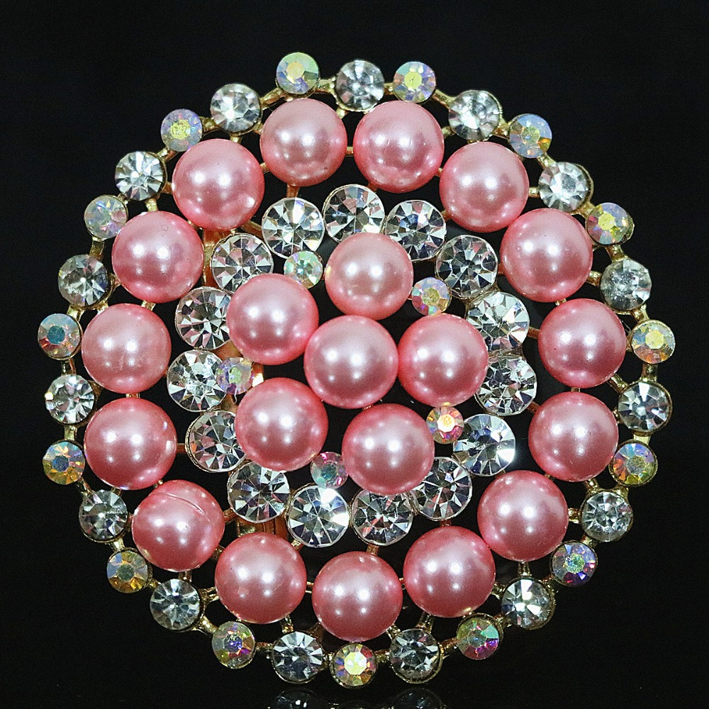 Hot Korean big round brooch multicolor shell simulated-pearl white crystal gold plated beauty pins jewelry B1233
