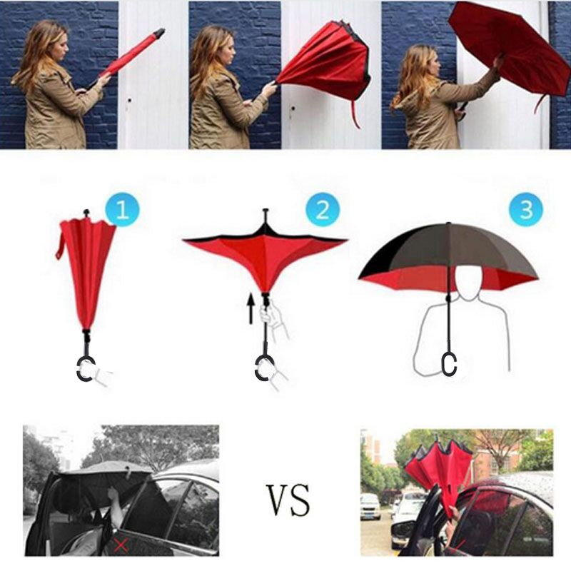 1PCS Green Rolling Over Reverse PonUmbrella  Double Layer Inverted Self Stand Rain Protection C-Hands Folding For Car Fishing