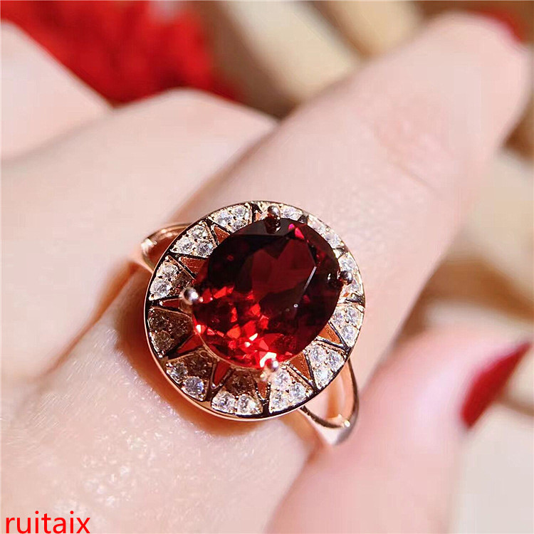 KJJEAXCMY fine jewelry 925 silver inlaid natural gem garnet female ring silver jewelry girl.KJJEAXCMY fine jewelry 925 silver inlaid natural gem garnet female ring silver jewelry girl.