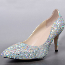 Custom Made Genuine Leather Prom Shoes Pointed Toe Bridal Dress Shoes AB Crystal Nighclub Party Shoes Graduation Party Pumps