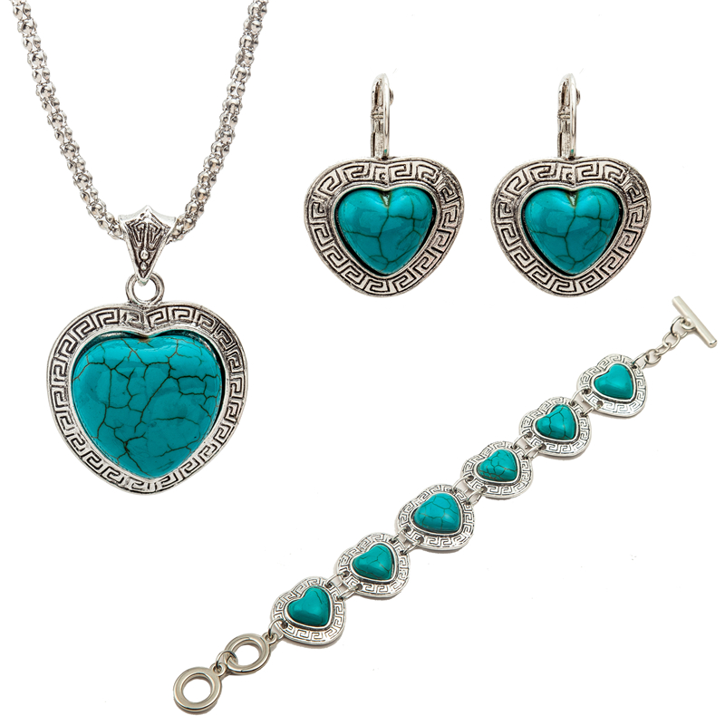 Top Quality Elegant luxury Women Vintage Turquoise Silvery Plated Jewelry Set perfumes feminino brinco noiva