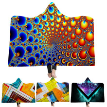 WAZIR 3D digital printing geometry Hooded Blanket Cloak Cashmere Children Thicken Cobertor Magic Hat Throw
