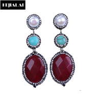 Luxury Design High Quality Natural Stone Dangle Earrings Pave Rhinestone Stone Shell Pearl Charm Fashion Bohemia